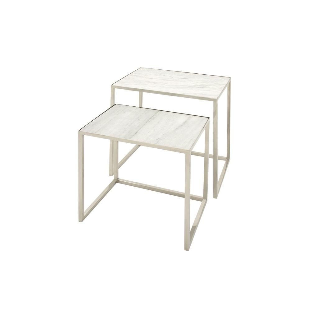 Litton Lane White Marble Rectangular Nesting Tables With Silver Stainless Steel Legs Set Of 2