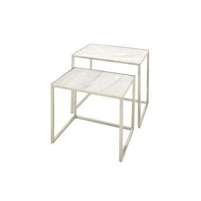White Marble Rectangular Nesting Tables with Silver Stainless Steel Legs (Set of 2)