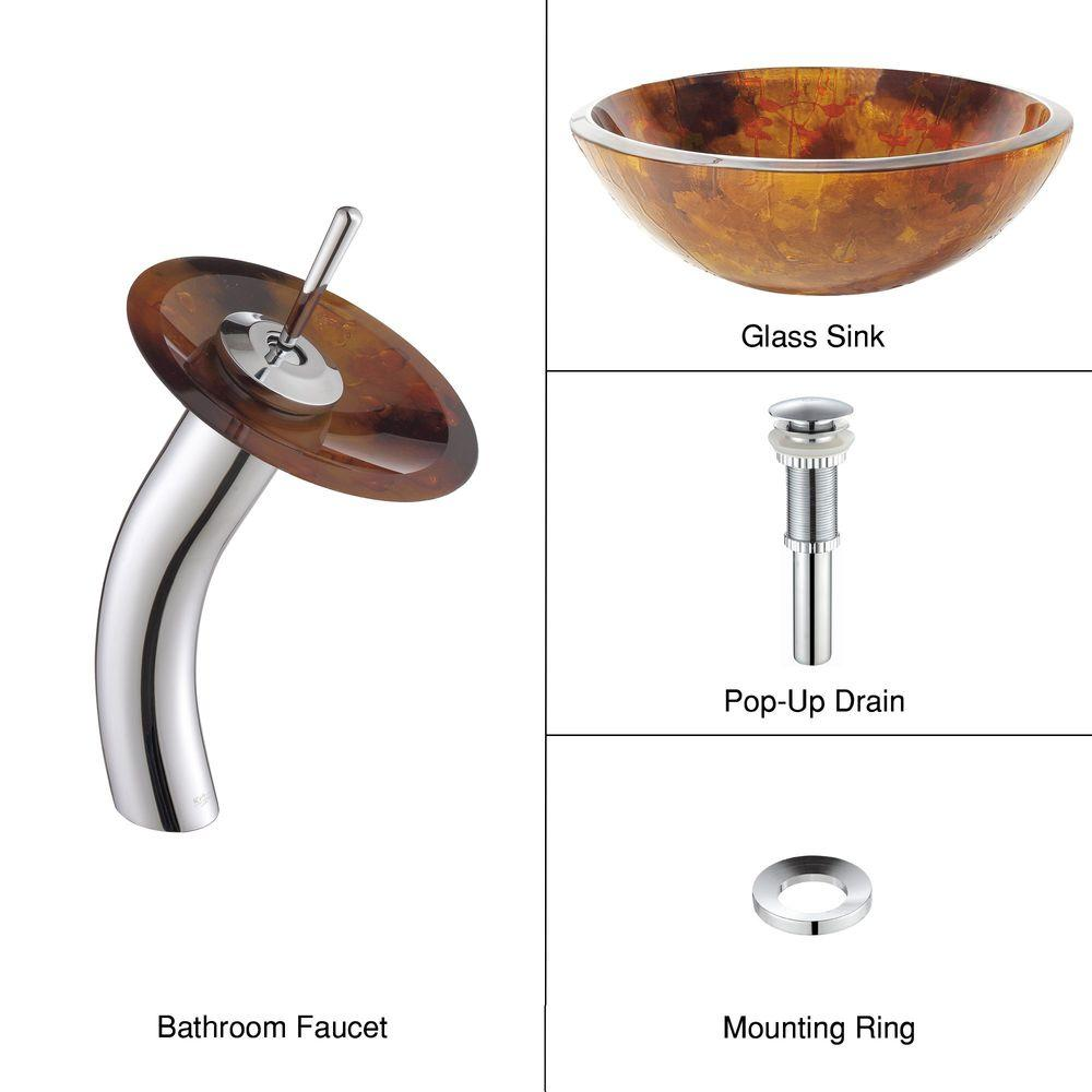 KRAUS 19mm Bathroom Sink in Amber with Single Hole Single-Handle Low-Arc Waterfall Faucet in Chrome-DISCONTINUED