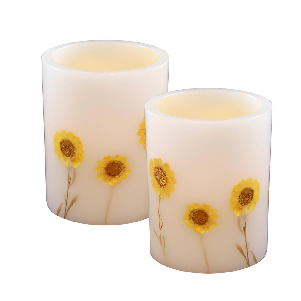 3.2 in. Dried Flowers Flameless Candle (Set of 2), Flower...