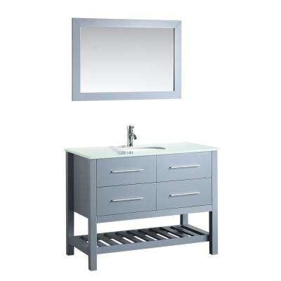 Bosconi 43 in. W Single Bath Vanity in Grey with Pheonix Stone Vanity Top in White with White Basin and Mirror