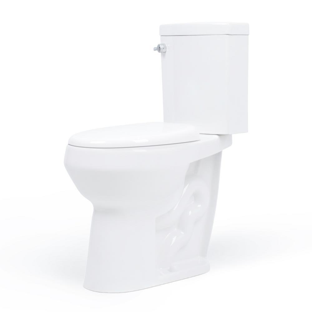 Convenient Height 2-Piece 1.28/.09 GPF Dual Flush Elongated 20 in. Extra Tall Toilet in White, Seat Included