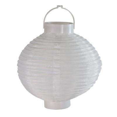 8 in. White Fabric Battery Operated LED Lighted Outdoor Garden Patio Chinese Lanterns (Set of 3)