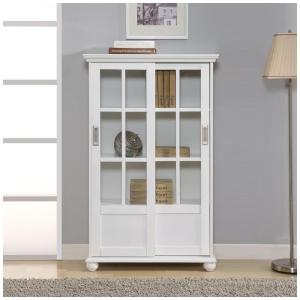 Altra Furniture Aaron Lane White Glass Door Bookcase by Altra Furniture