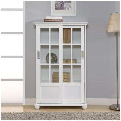 Aaron Lane White Glass Door Bookcase