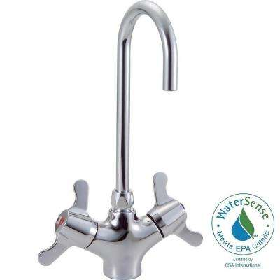 Commercial Single Hole 2-Handle High-Arc Mixing Bathroom Faucet in Chrome