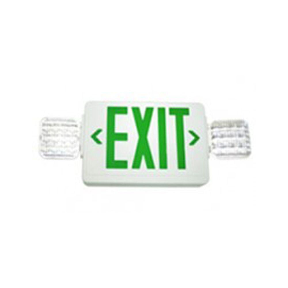 Filament Design Nexis 2-Light Die Cast Aluminum LED Single Face NiCad Battery Emergency Green Exit/Combo