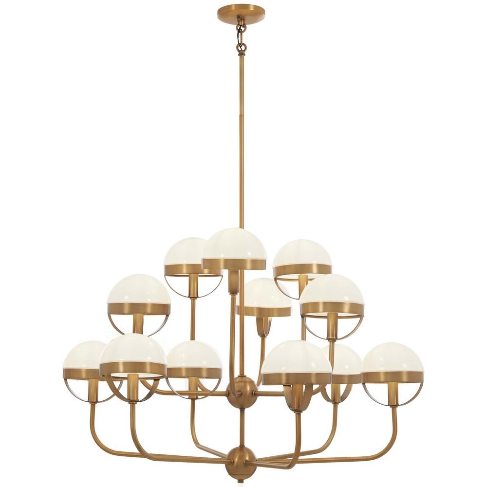 Tannehill 12-Light Aged Brass Chandelier with Opal Glass Shade