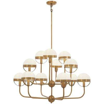 Tannehill 12 Light Aged Br Chandelier With Opal Gl Shade