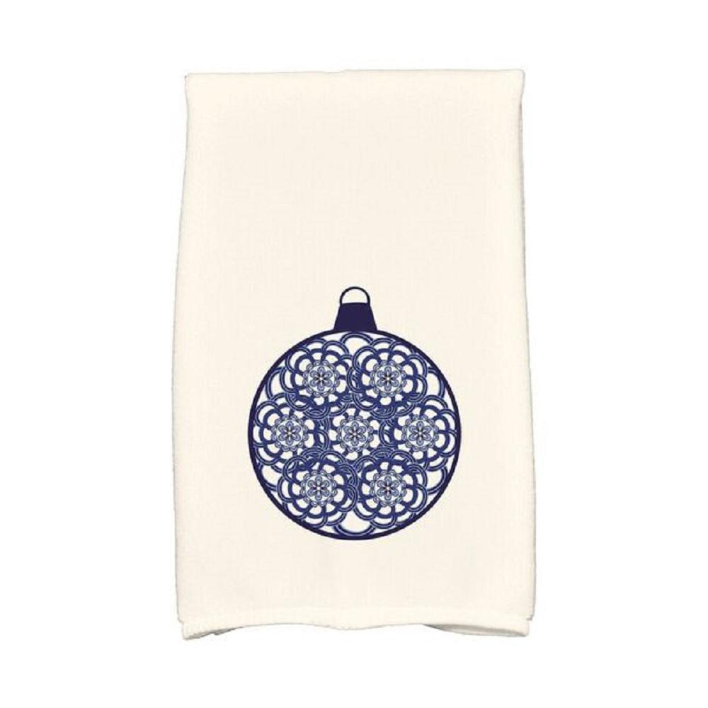 Navy Blue Snowflake Bulb Holiday Geometric Print Kitchen Towel Kthgn678bl1 The Home Depot