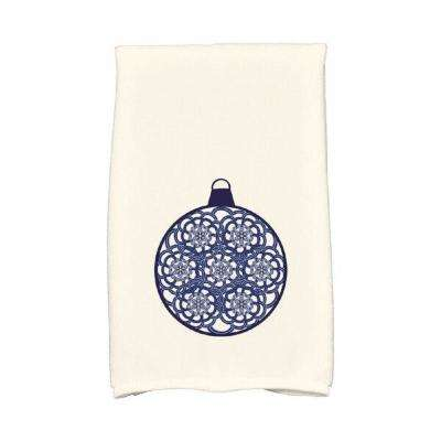 16 in. x 25 in. Navy Blue Snowflake Bulb Holiday Geometric Print Kitchen Towel