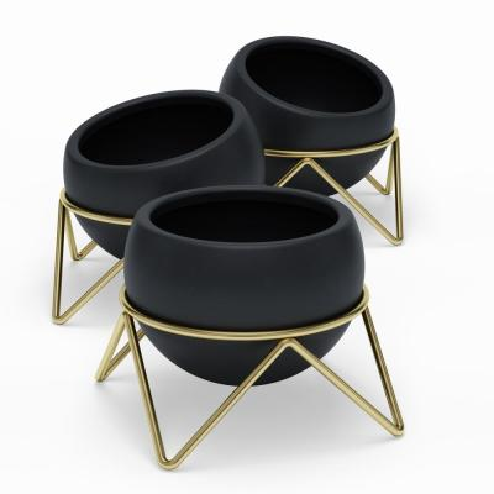 Black/Brass Ceramic Potsy Planter (Set of 3)