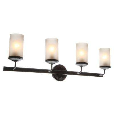 Sfera 34 in. W. 4-Light Autumn Bronze Wall/Bath Vanity Light with Smokey Amber Glass