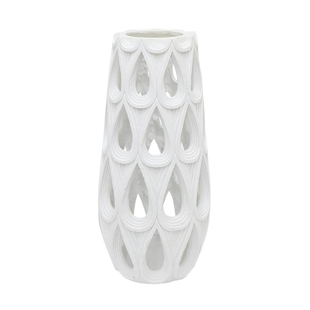 White Resin Pierced Decorative Vase