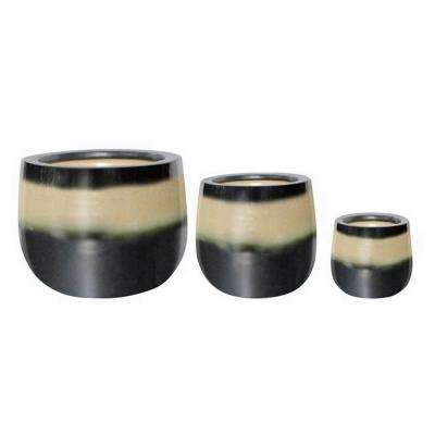 12 in. x 9 in. Black Ceramic Planter (Set of 3)