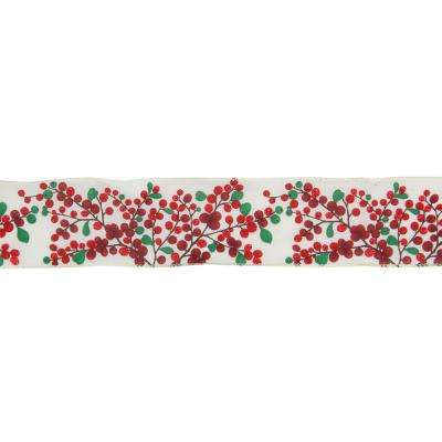 2.5 in. x 16 yds. Red Berries on Branches Wired Craft Ivory Ribbon
