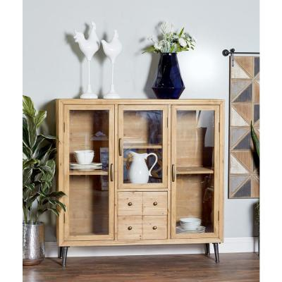 Light Brown Wood and Glass Multipurpose Cabinet