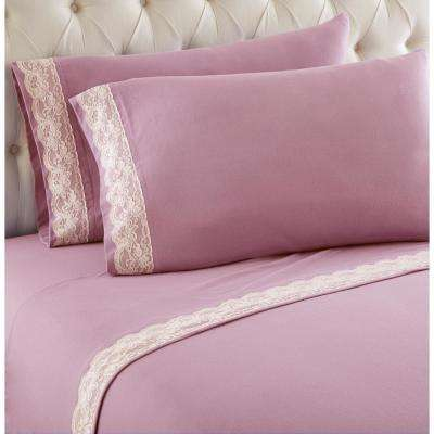 4-Piece Frosted Rose King Lace Edged Sheet Set