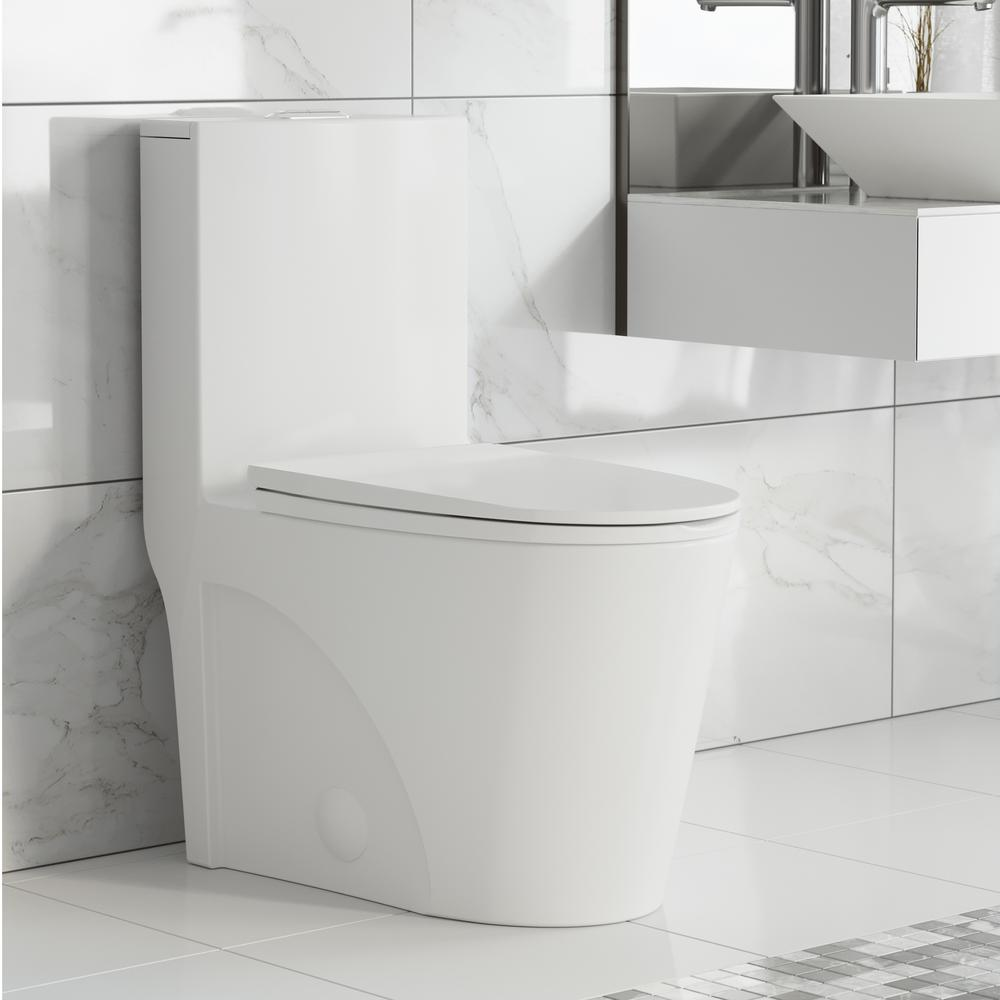 Swiss Madison St. Tropez 1-Piece 0.8/1.28 GPF Dual Flush Elongated Toilet in White