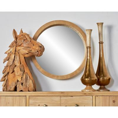 LITTON LANE Medium Round Brown Classic Mirror (24 in. H x 24 in. W)