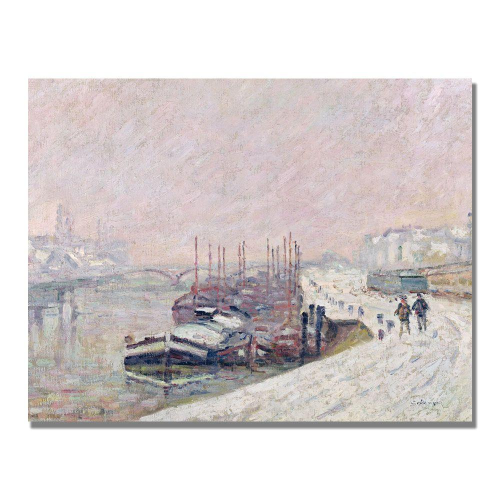 24 in. x 32 in. Snow in Rouen Canvas Art