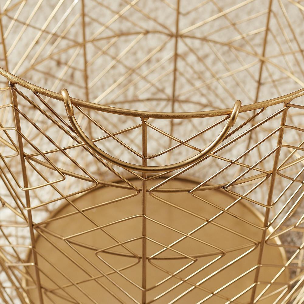 Round Gold Metal Wire Decorative Basket (Set of 3)