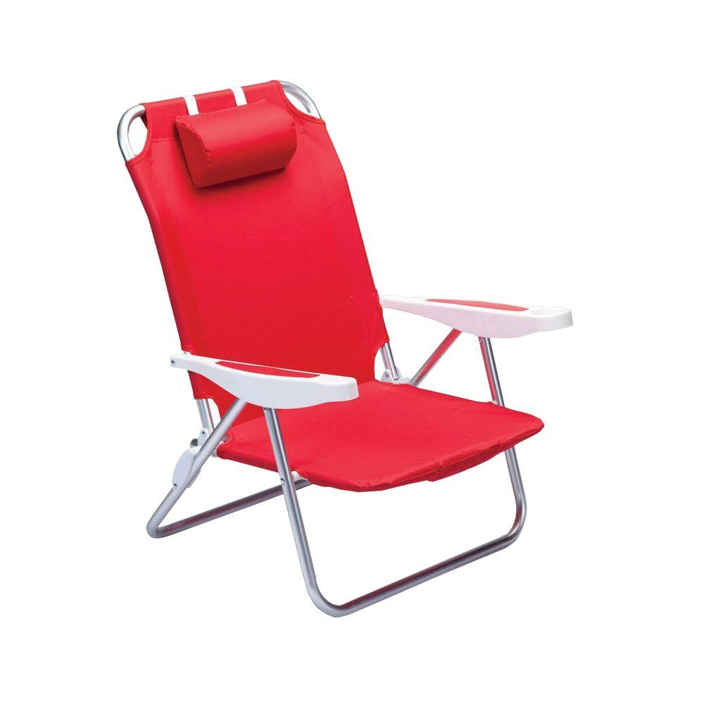 Picnic Time Red Monaco Beach Patio Chair