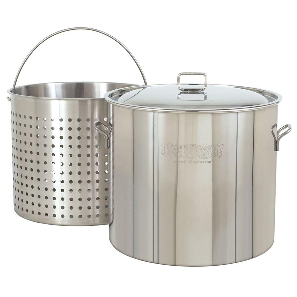 Bayou Classic 122 qt. Stainless Steel Stockpot with Basket and Lid