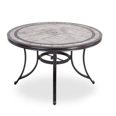 Brown 46 in. Dia. x 28 in. H Round Aluminum Patio Dining End Bistro Table with Porcelain Top
