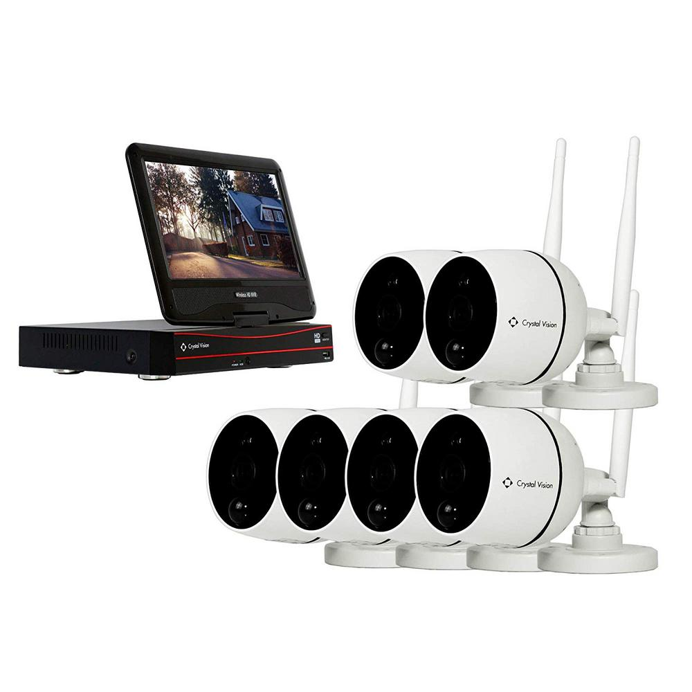 Crystal Vision 8-Channel Wireless 1080p Full HD 2MP Audio Cameras 2TB Hard Drive Surveillance System with 10 in. Monitor