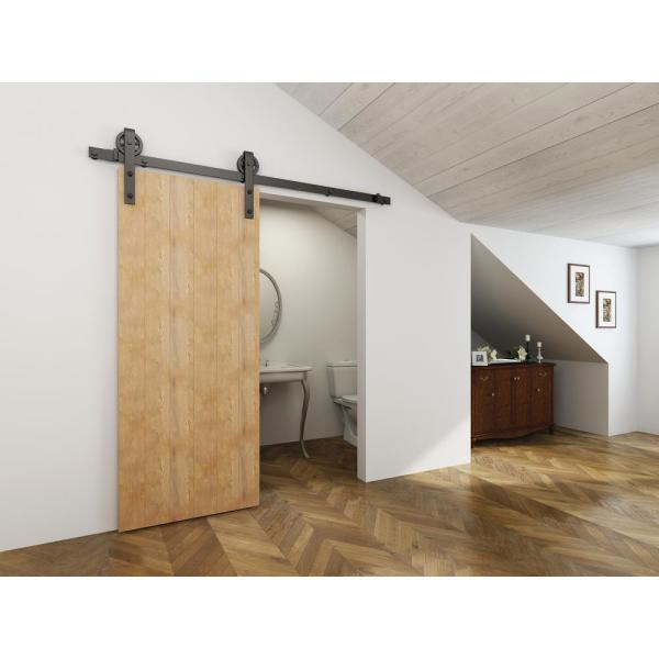 Delaney 5000 Series 6 Ft Black Wagon Wheel Style Rollers Barn Door Hardware Kit Bd5064 The Home Depot