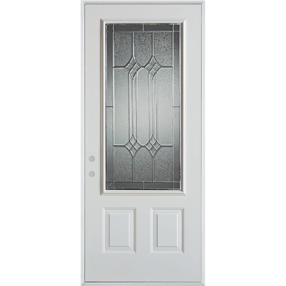 36 in. x 80 in. Orleans Zinc 3/4 Lite 2-Panel Painted White Steel Prehung Front Door