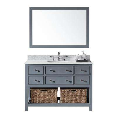 48 in. W x 22 in. D x 34.21 in. H Bath Vanity in Cashmere Grey w/ White Marble Vanity Top w/ White Basin and Mirror
