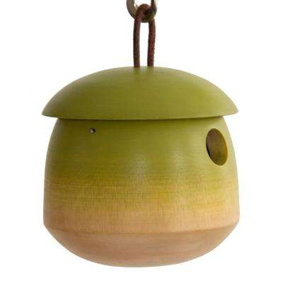 6 in. Green Mango Wood Tumble Bird House