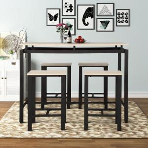 HomeDepot.com deals on Harper & Bright Designs 5-Piece Beige Wood and Metal Dining Set