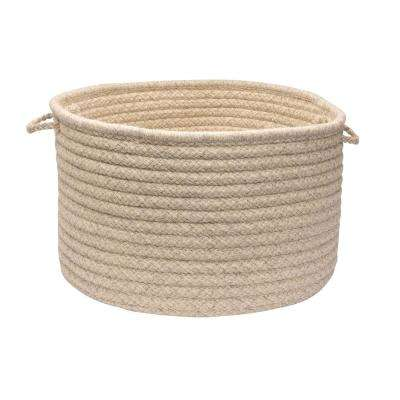 Natural Wool 18 in. x 18 in. x 12 in. Dogstooth Basket in Cream