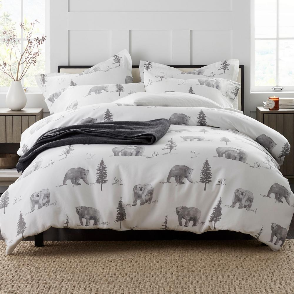 The company store bear tracks holiday flannel full duvet cover