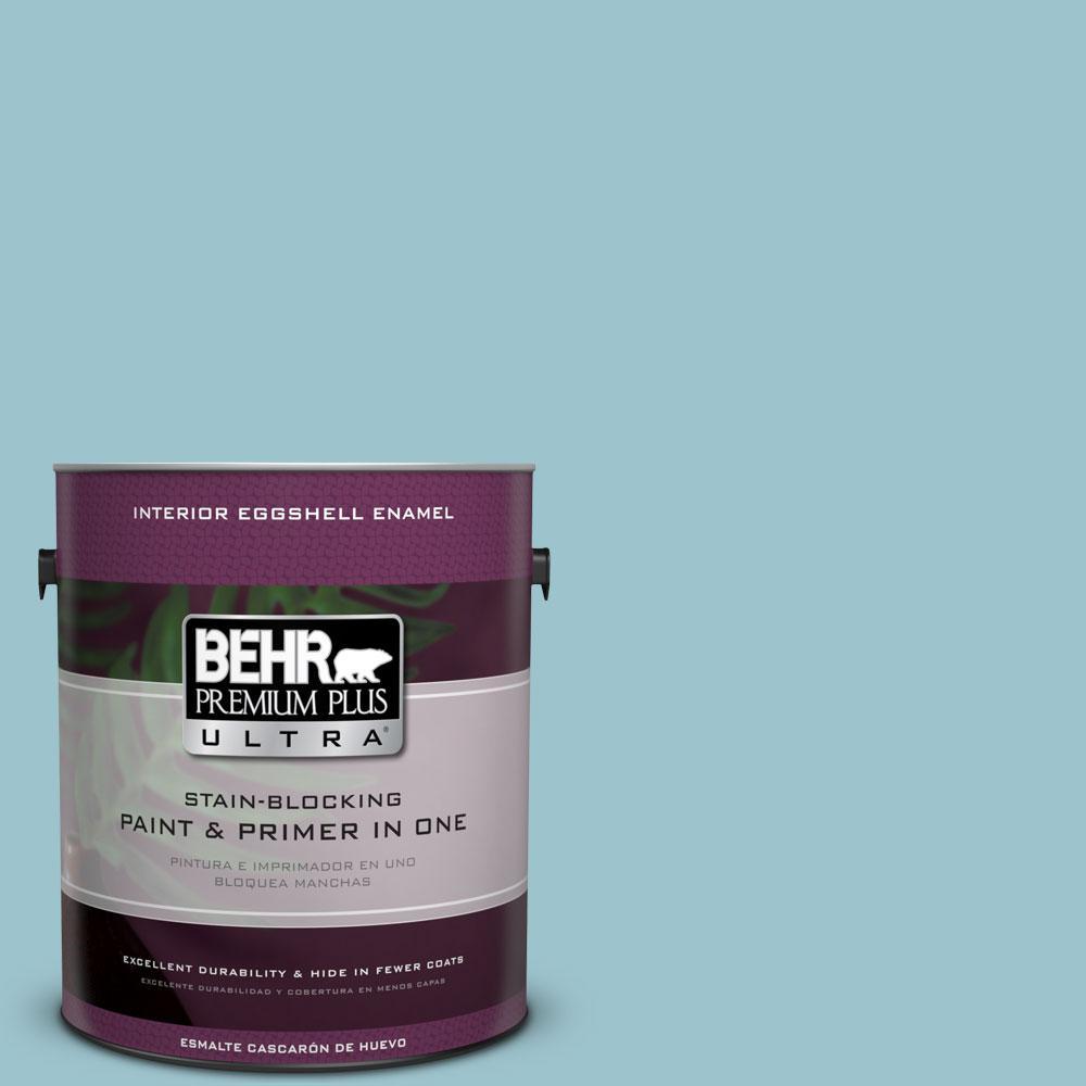 BEHR Premium Plus Ultra 1-gal. #ICC-99 Alluring Blue Eggshell Enamel Interior Paint