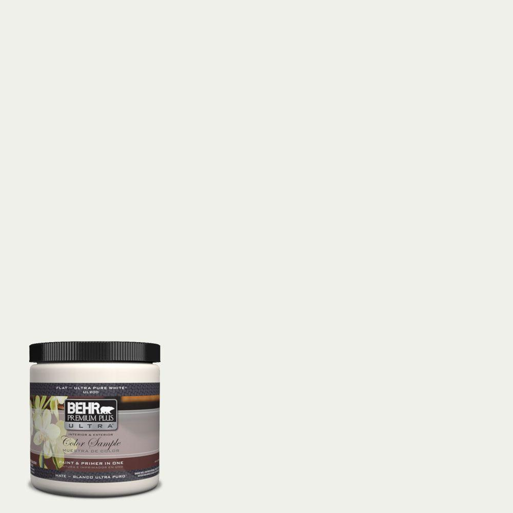 BEHR Premium Plus Ultra 8 oz. #UL190-12 Falling Snow Matte Interior/Exterior Paint and Primer in One Sample