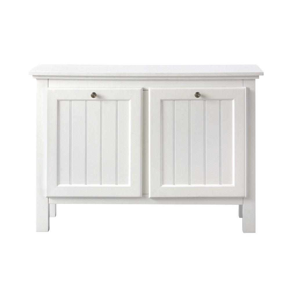 Ridgemore 38 in. W 2 Slide-Out Drawer Hamper in White