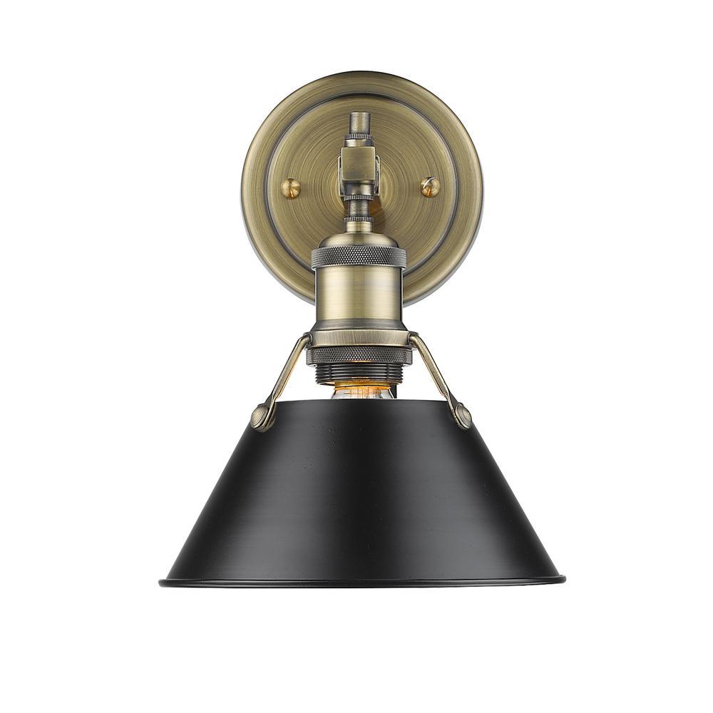 Orwell AB 1-Light Aged Brass Bath Light with Black Shade