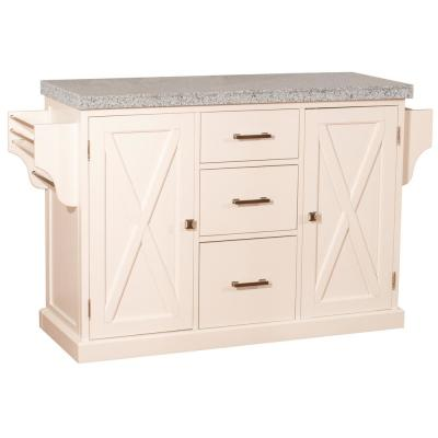 Brigham White Kitchen Island with Granite Top