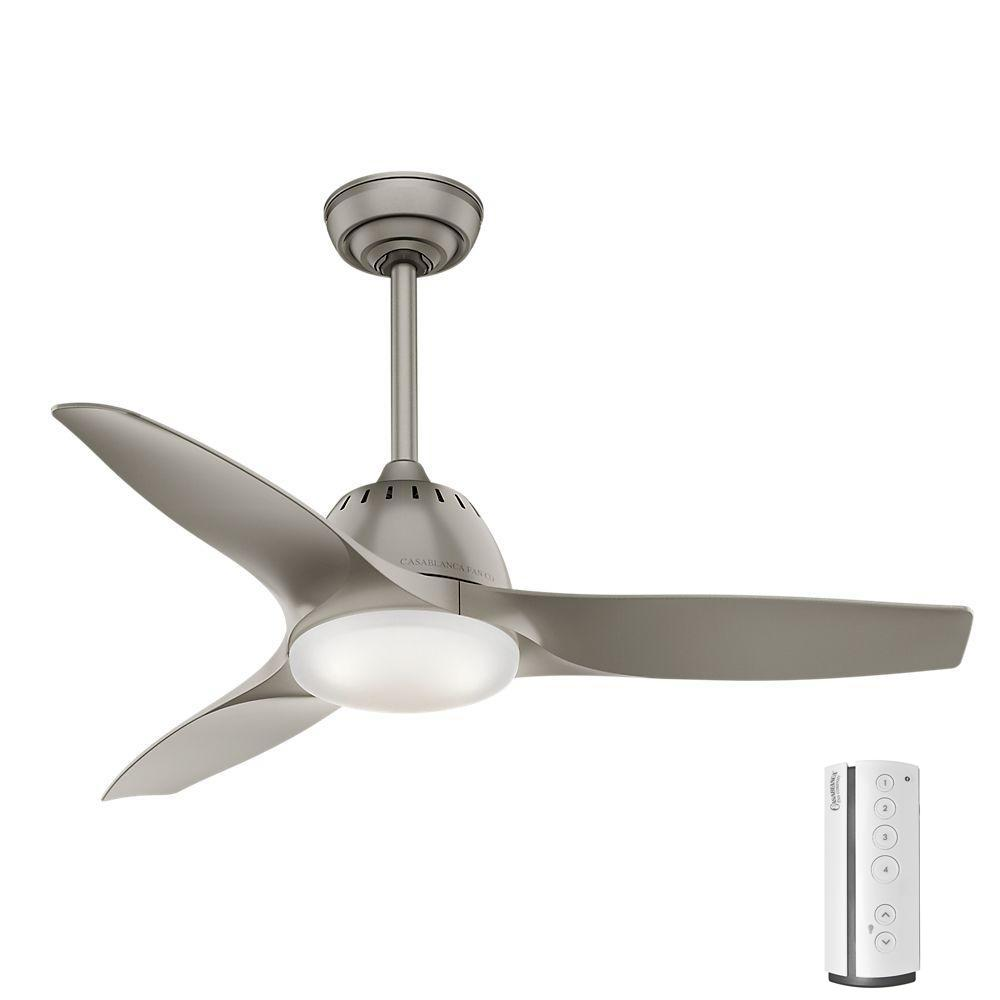Casablanca Wisp 44 In Led Indoor Pewter Ceiling Fan With
