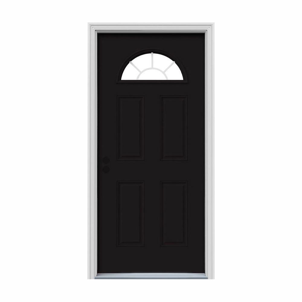 30 in. x 80 in. Fan Lite Black w/ White Interior Steel Prehung Right-Hand Inswing Front Door w/Brickmould