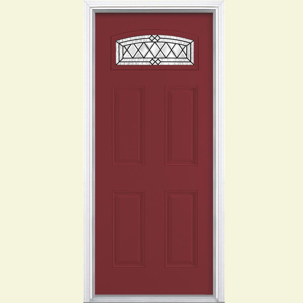 Masonite 36 in. x 80 in. Halifax Camber Fan Left Hand Painted Smooth Fiberglass Prehung Front Door w/ Brickmold, Vinyl Frame