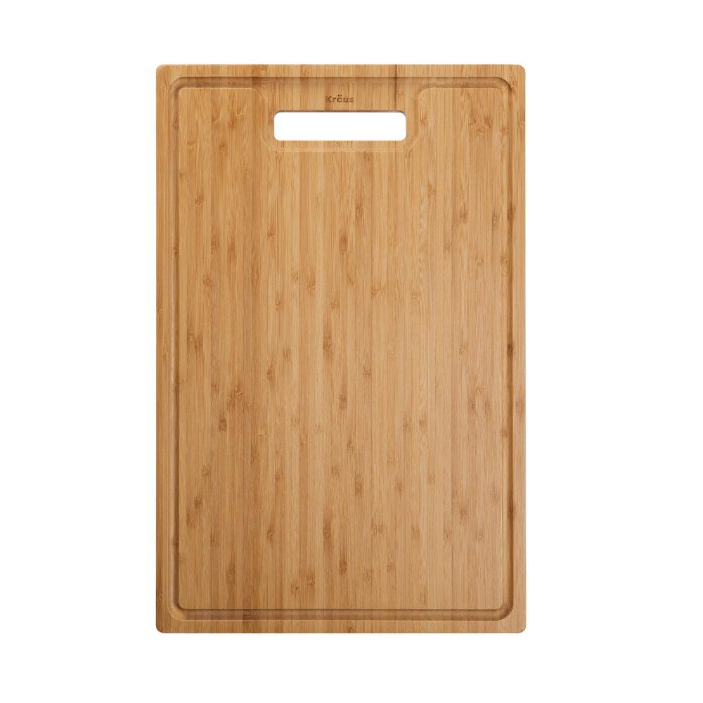 18.5 in. x 12 in. Rectangle Organic Solid Bamboo Cutting Board for Kitchen Sink