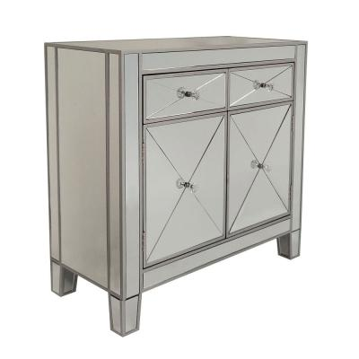 Silver and Gray Mirrored Storage Cabinet with 2-Drawers and 2-Doors