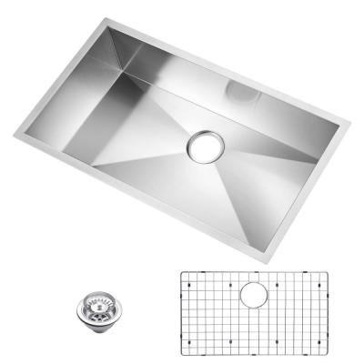 Undermount Stainless Steel 33 in. Single Bowl Kitchen Sink with Strainer and Grid in Satin