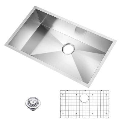 Undermount Stainless Steel 33 in. Single Basin Kitchen Sink with Strainer and Grid in Satin