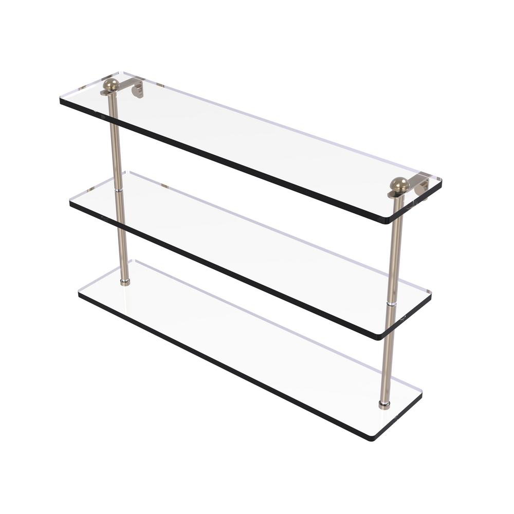 22 in. Triple Tiered Glass Shelf in Antique Pewter